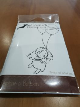 Daphne's Balloon - Red rubber stamp