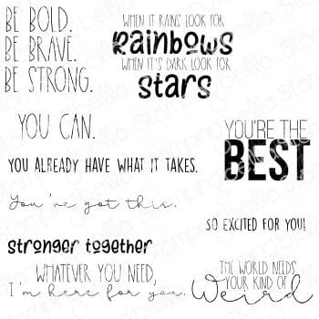 **NEW** Stamping Bella - ENCOURAGEMENT SENTIMENT SET (9 RUBBER STAMPS)