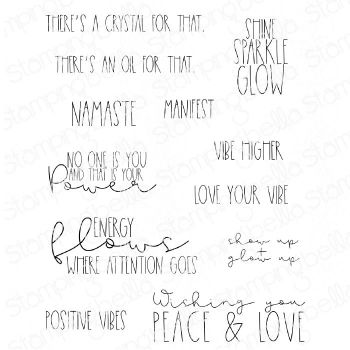 **NEW** Stamping Bella - GOOD VIBES SENTIMENT SET (12 RUBBER STAMPS)