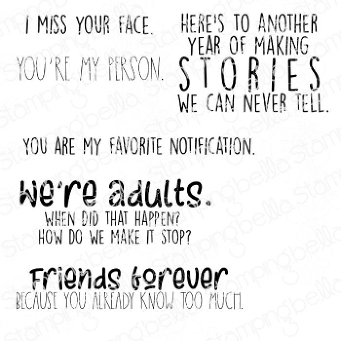 ***NEW*** Stamping Bella - I MISS YOUR FACE SENTIMENT SET (6 RUBBER STAMPS)