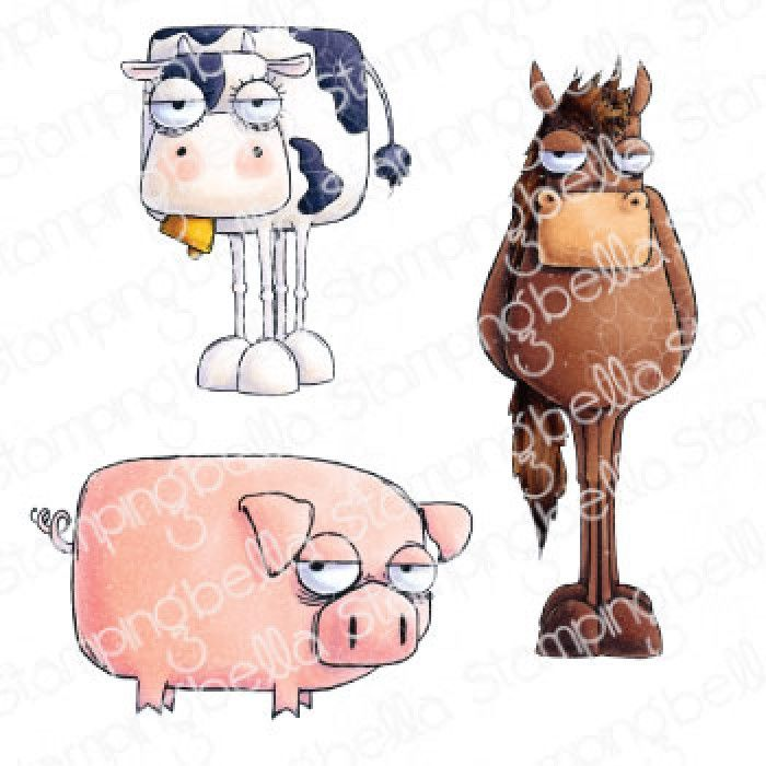 ***NEW*** Stamping Bella - FARM ANIMALS ODDBALL (SET OF 3 RUBBER STAMPS)