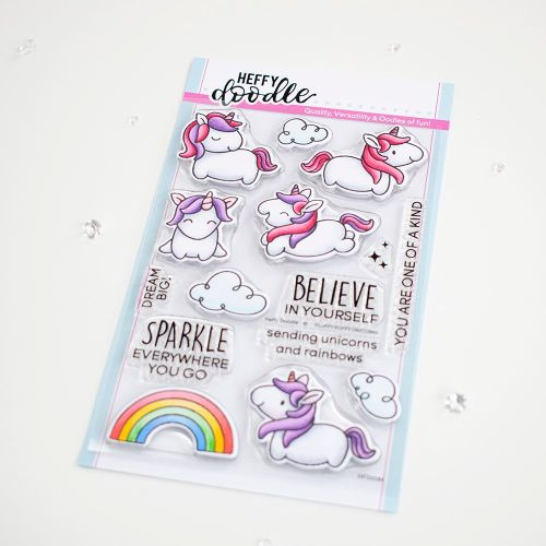 ***NEW***Heffy Doodle - Fluffy Puffy Unicorn clear stamps