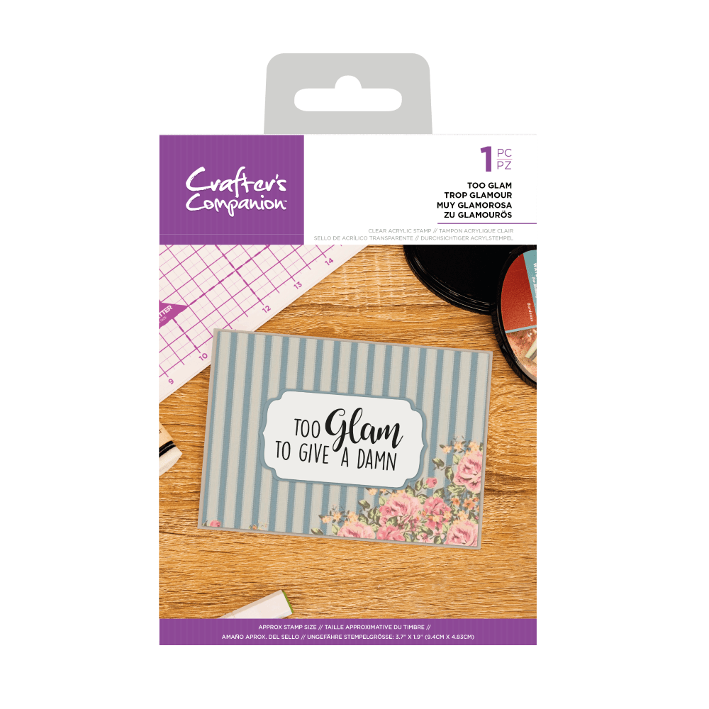 Crafter's Companion Clear Acrylic Stamp - Quirky Sentiment Stamps - Too Gla