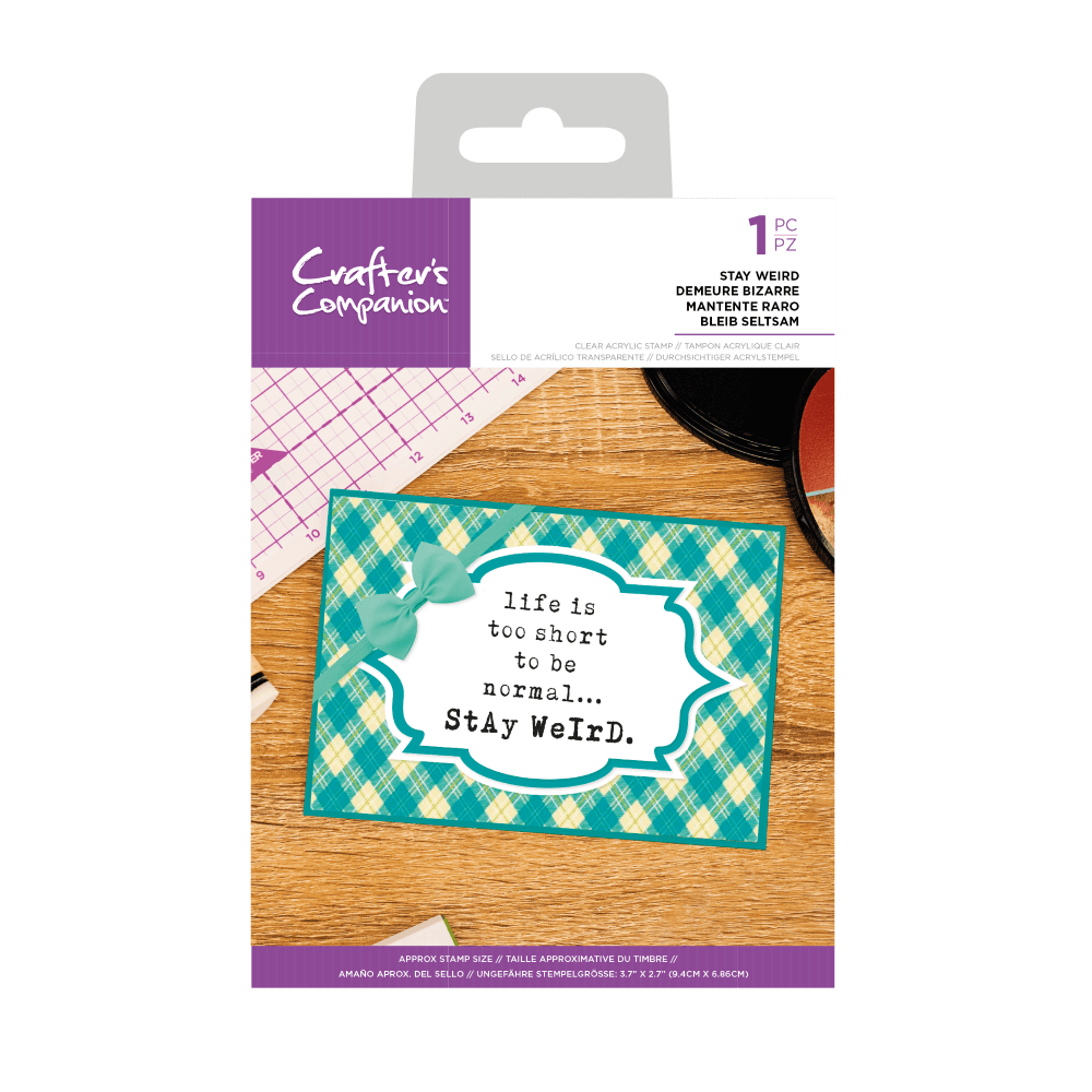 Crafter's Companion Clear Acrylic Stamp - Quirky Sentiment Stamps - Stay We