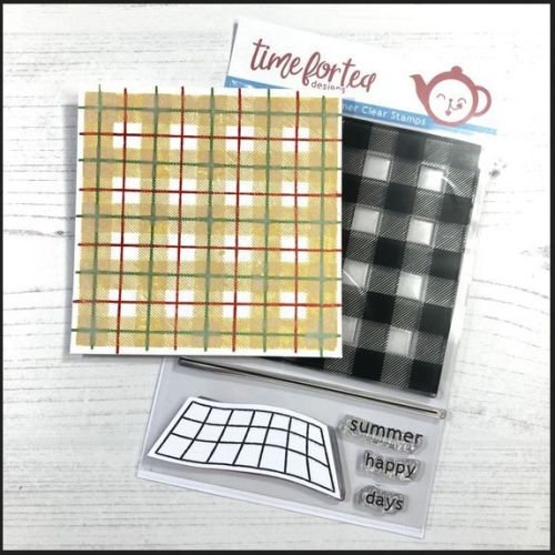 ***NEW*** Time For Tea - Plaid Background clear stamp set