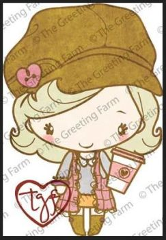 Latte red rubber Anya stamp - The Greeting Farm