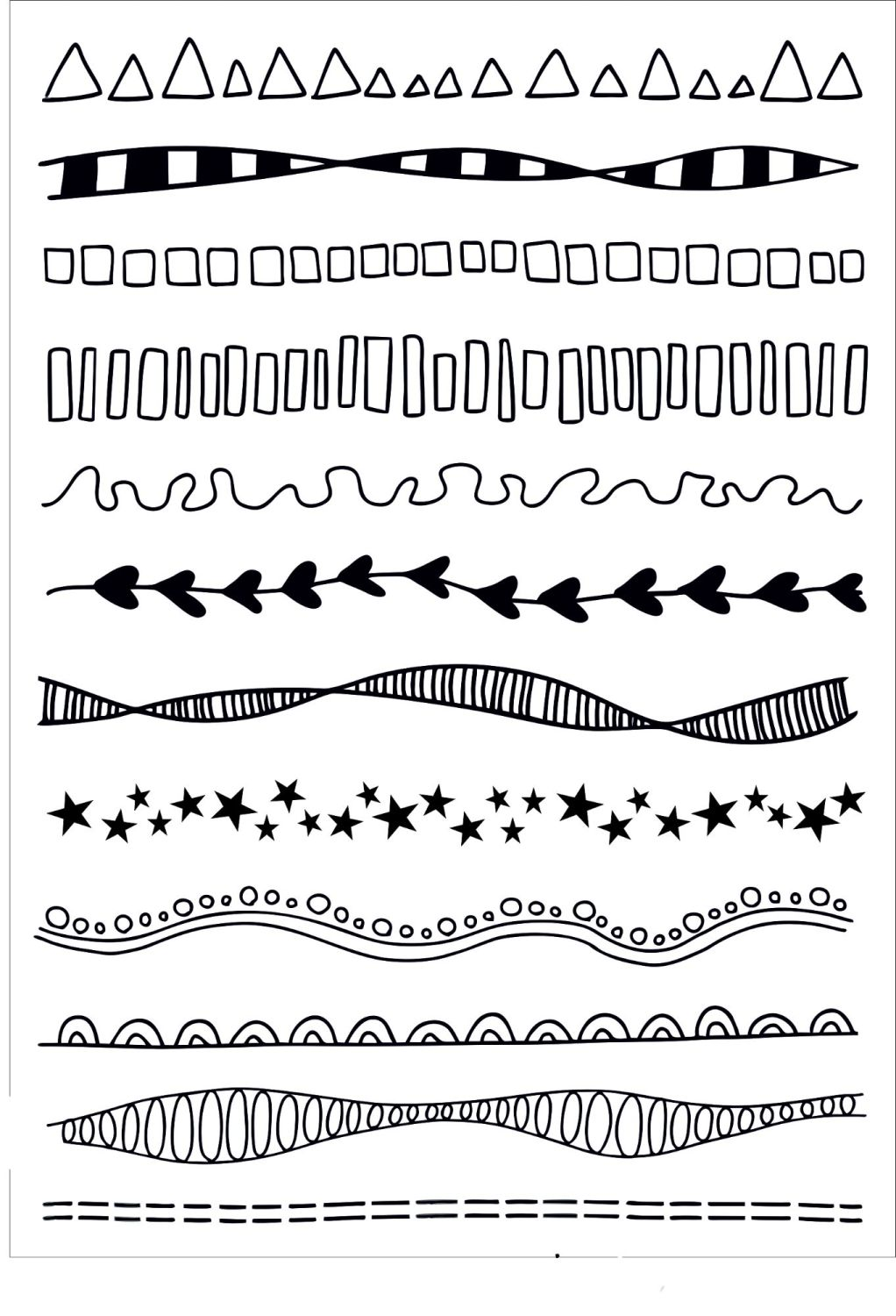 Doodle borders A5 stamps - Funky Fossil