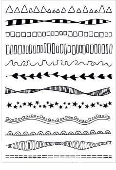 ***NEW***Doodle borders A5 stamps - Funky Fossil