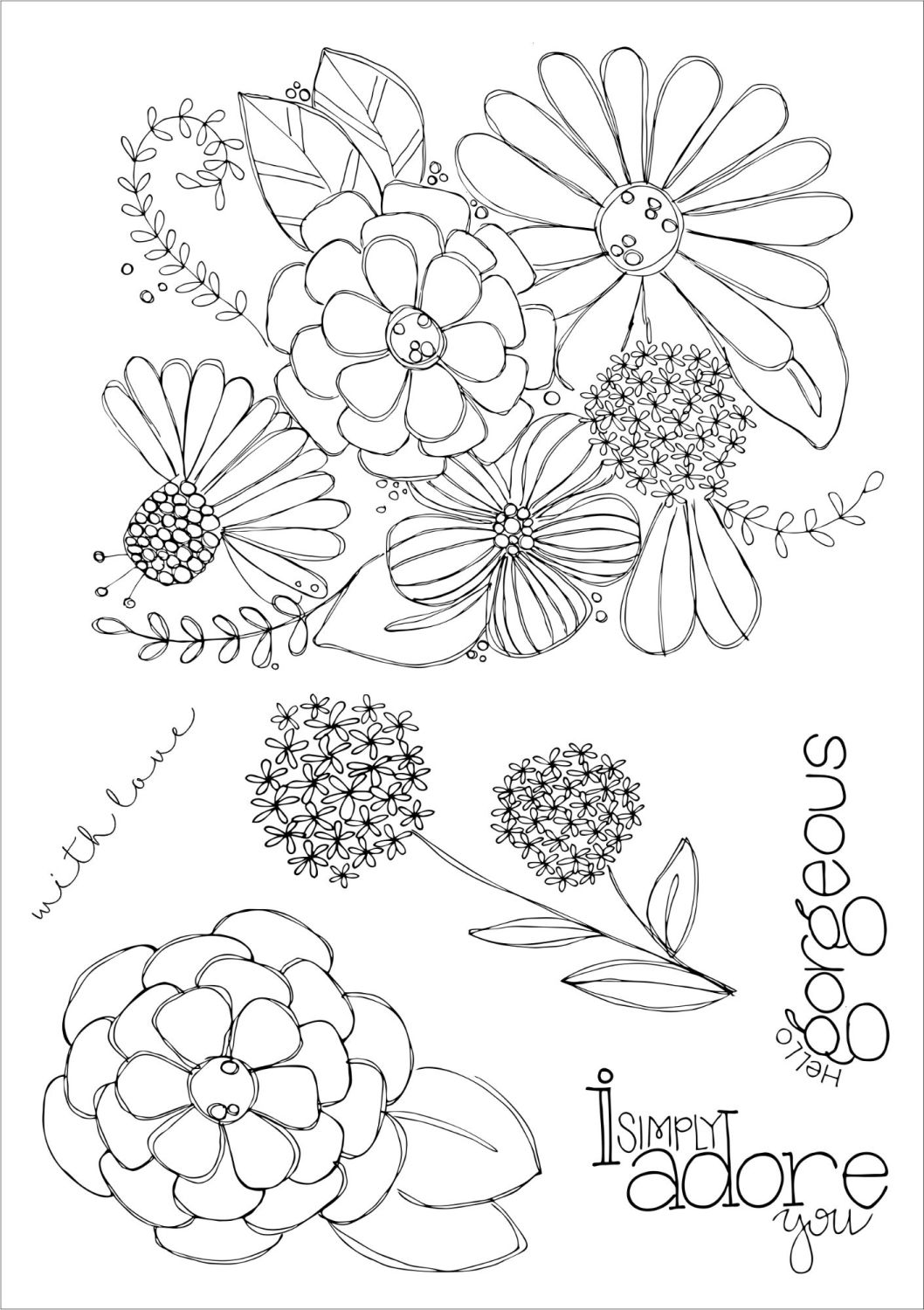 Hello Gorgeous A5 stamps - Funky Fossil