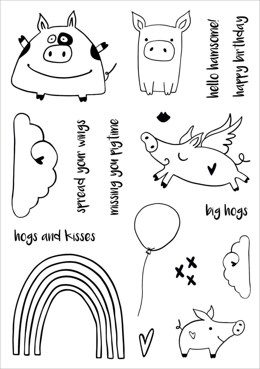 Hogs & Kisses A5 stamps - Funky Fossil