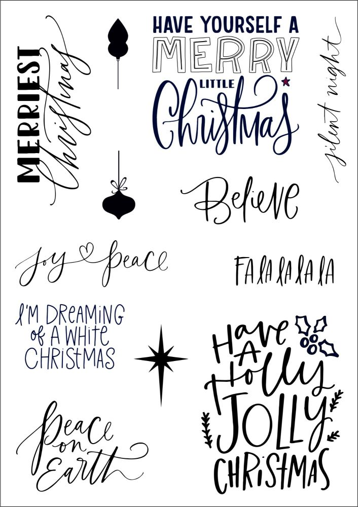 Festive Phrases A5 stamps - Funky Fossil