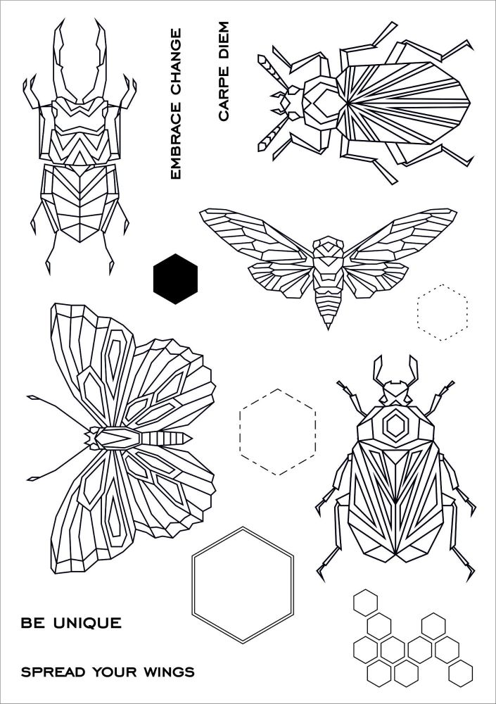 Geo bugs A5 stamps - Funky Fossil