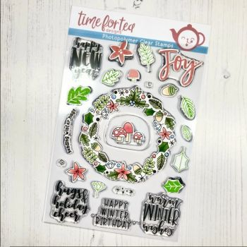 Time For Tea - A5 Winter Wishes Wreath clear stamp set