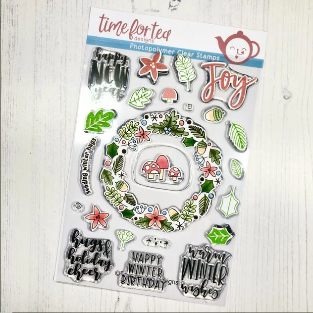 ***NEW*** Time For Tea - A5 Winter Wishes Wreath clear stamp set
