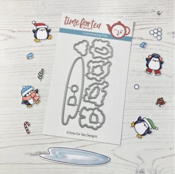 ***NEW*** Time For Tea - Skating By Penguins Coordinating Die set