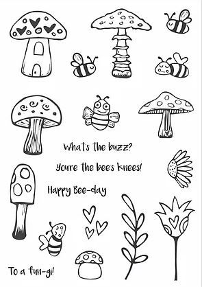 Bees Knees A5 stamps - Funky Fossil