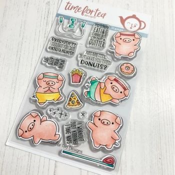 ***NEW*** Time For Tea - Workout Pigs Clear Stamp Set