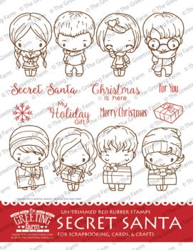 Secret Santa Kit red rubber stamp set - The Greeting Farm