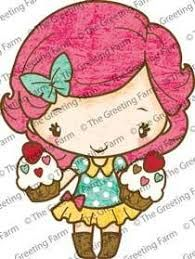 Double Cupcake Anya red rubber stamp