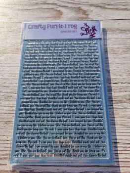 Written With Love background stamp - Crafty Purple Frog