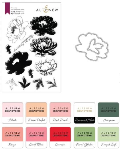 Build-A-Flower: Hawaiian Coral Layering Stamp & Die Set & Ink Bundle