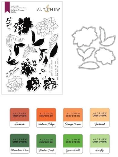 Build-A-Flower: Dahlia Layering Stamp & Die Set & Ink Bundle