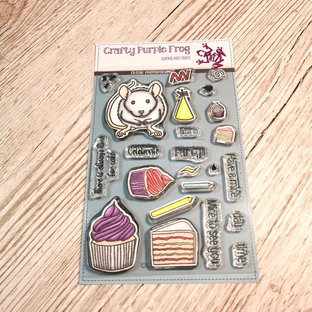 ****NEW**** Party Mouse Stamp Set - Crafty Purple Frog