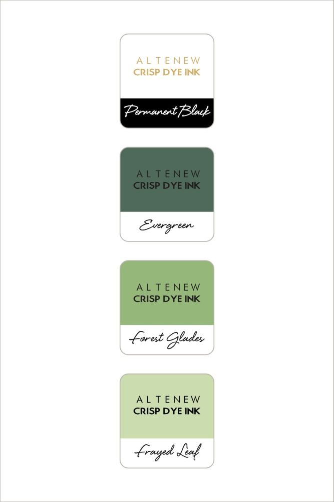 Green Fields with Permanent Black Crisp Dye Ink MIni Cube Set