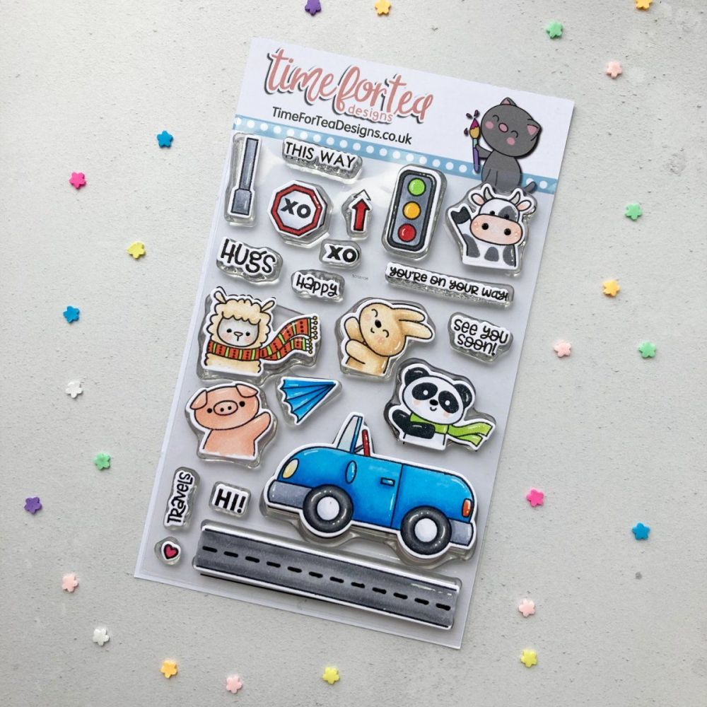 ****NE**** Time For Tea - Car Critters clear stamp set