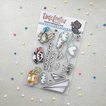 ****NEW**** Time For Tea - Paper Plane Pals clear stamp set
