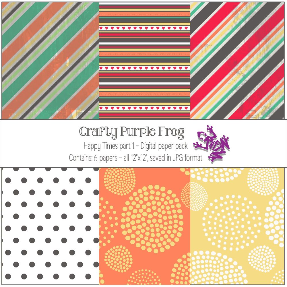 Happy Times pack 2 - Digital paper set - Crafty Purple Frog