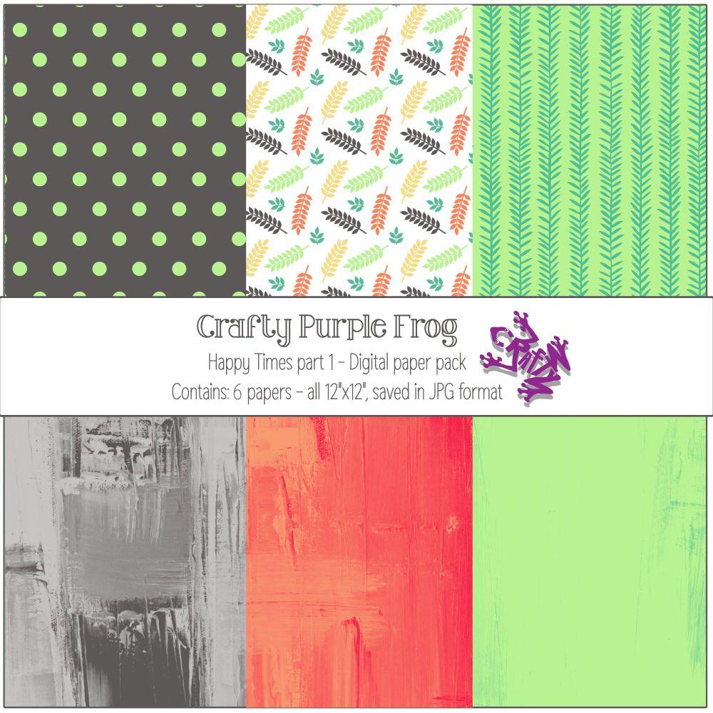 Happy Times pack 1 - Digital paper set - Crafty Purple Frog
