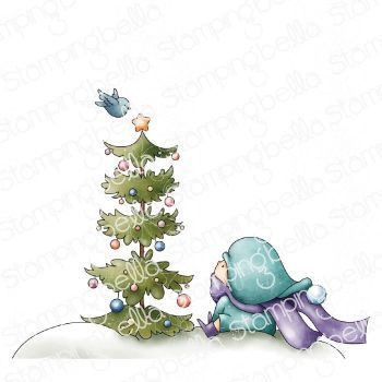 ****NEW**** Stamping Bella - BUNDLE GIRL WITH A CHRISTMAS TREE AND A BIRDIE