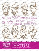 Hatters Kit red rubber stamp set - The Greeting Farm