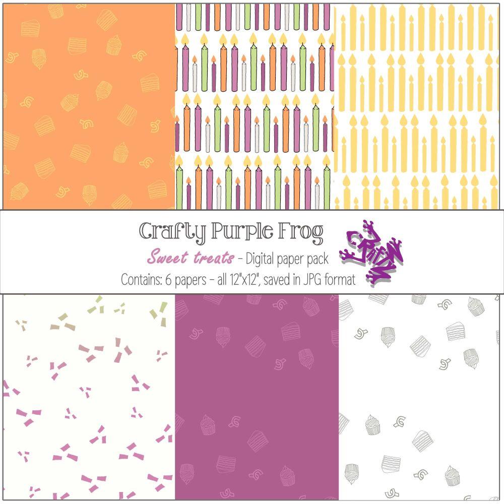 Sweet Treats pack 1 - Digital paper set - Crafty Purple Frog