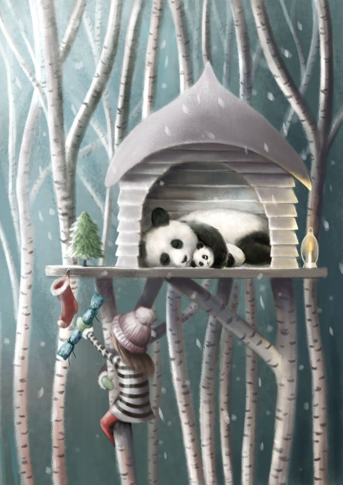 Christmas in a Treetop House Art Print