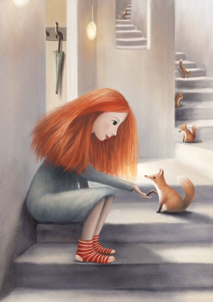 Friendly Foxes Art Print