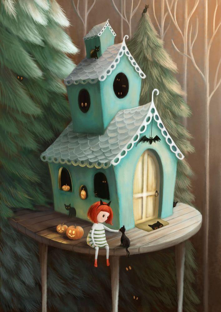 Halloween House Card