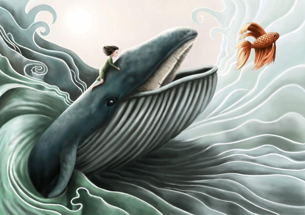 Swim Little Fishy, Swim Art Print