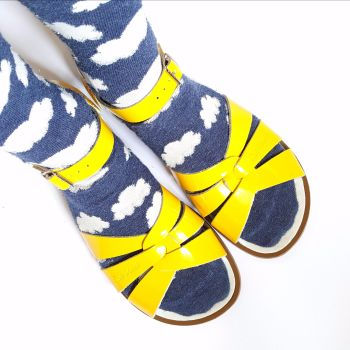 Cloud Socks and Yellow Salt-Water Sandals