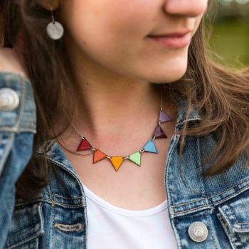 Enamel Rainbow Bunting Necklace