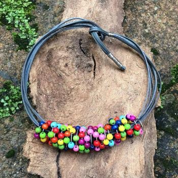 Colourful Wooden Bead Necklace
