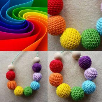 Rainbow Crochet Bead Necklace