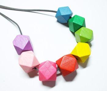 Wooden Rainbow Geometric Necklace