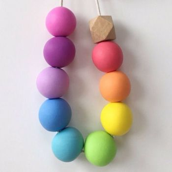 BeadBox Polymer Clay Pastel Rainbow Necklace