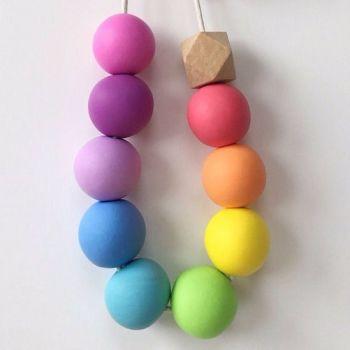 BeadBox Polymer Clay Pastel Rainbow Necklace