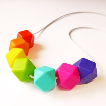 Rainbow Silicone Bead Teething Necklace