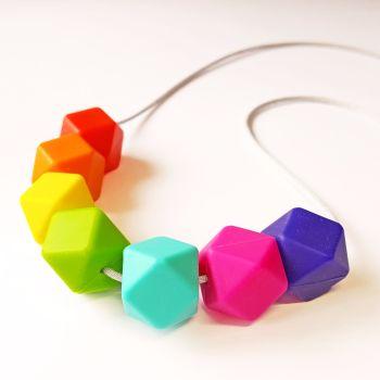 Rainbow Silicone Bead Teething Necklace