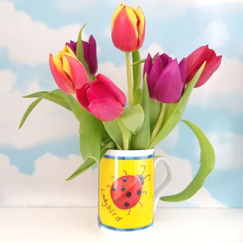 Tulips in a colourful mug