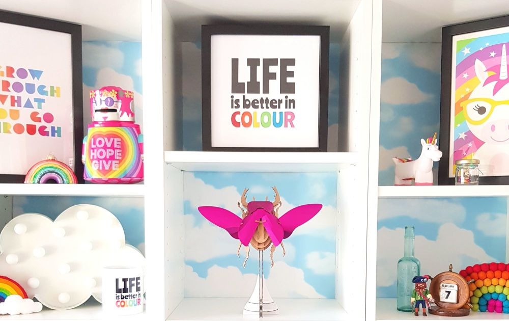 Colourful Craft Room Shelves